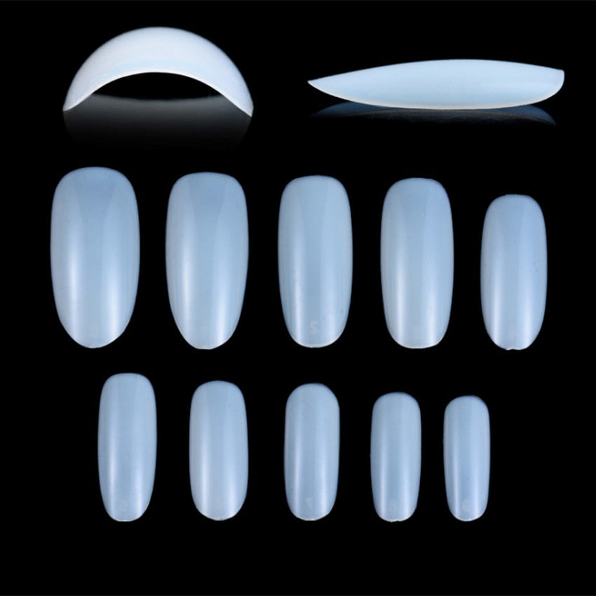 100Pcs Nail Art Natural/Clear Round End Oval False Nails Fake Nails Tips Long French Manicure Artificial Nails Beauty Products