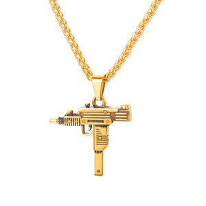 UZI GUN Pattern Male Chain Necklace Gold/Black Color Stainless Steel Fashion Hip Hop Pendant Necklace For Men Jewelry