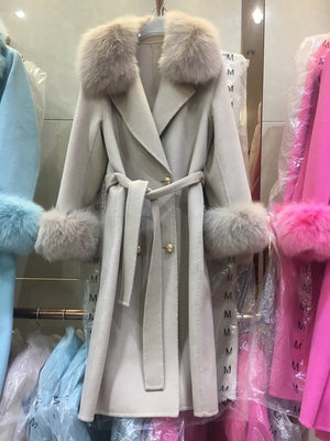 Women natural sheep fur long coat with real fox fur collar cuff winter outerwear fashion femme genuine furs