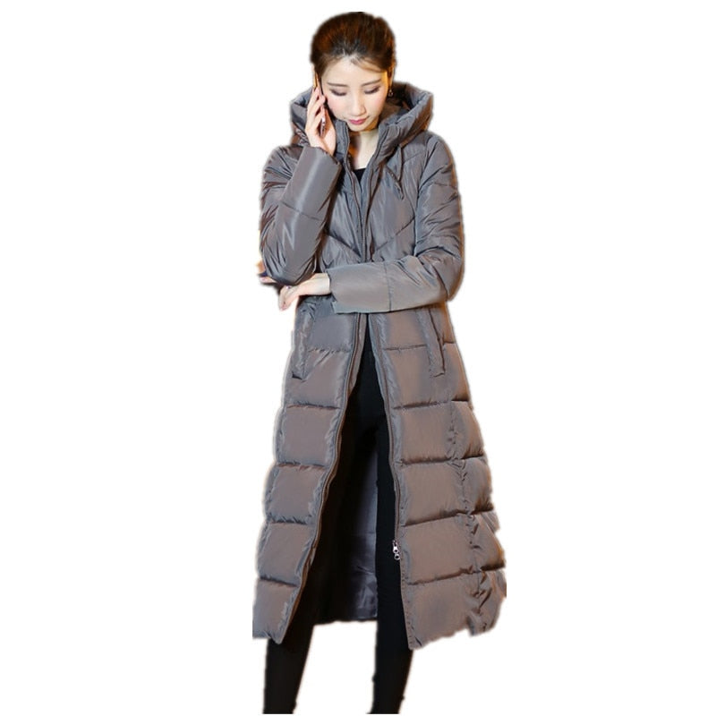 Woman Winter Coat Down Parka Plus Size Long Warm Hooded Coat