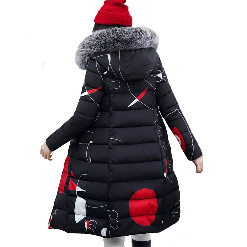 Woman Winter Coat with fur hood Women's Jacket Plus Size 3XL Padded long Parka Outerwear Coat Jaquata Feminina Inverno