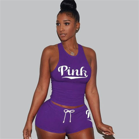 Letters Pink Print Tank Top Shorts Two Piece Set Round Neck Sexy Sleeveless Women Outfits Summer Sporting 2 Piece Set