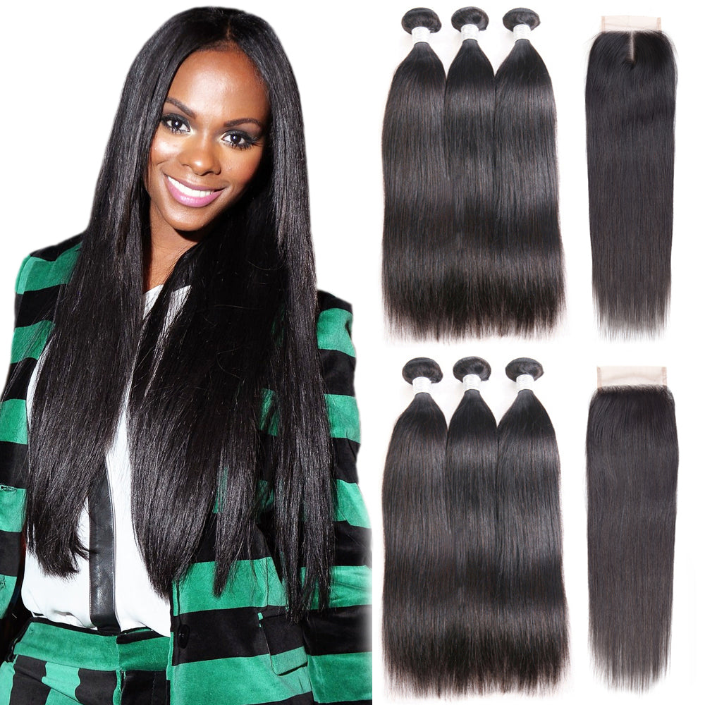 T-BOO Straight Brazilian Virgin Hair Human Hair Bundles With Closure 3PCS  Bundles Brazilian Hair Weave Bundles With Closure