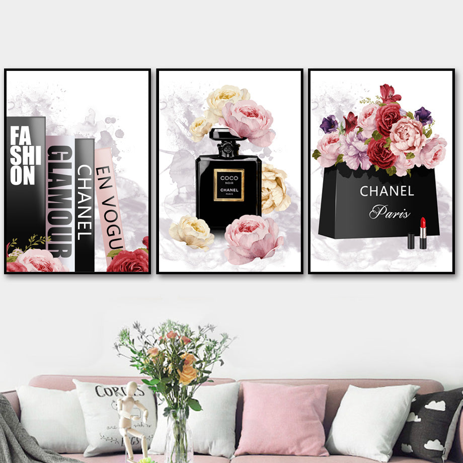 Book Perfume Flower Paris Brand Nordic Posters And Prints Wall Art Canvas Painting