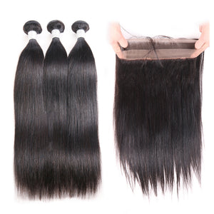 T-BOO 3 pcs Hair Bundle Brazilian Straight Hair with 360 Lace Frontal Hair Weave