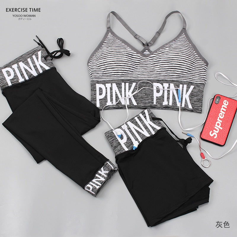 "3 pieces women sets printed ""pink "" high quality workout fitness suits for women"