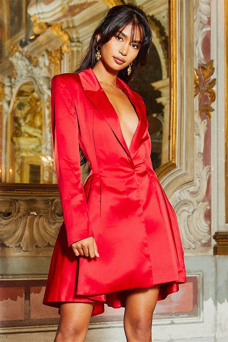 Women Fashion Satin Shirt Dress  Vintage Dress V-Neck Elegant A Line Long Sleeve Dress