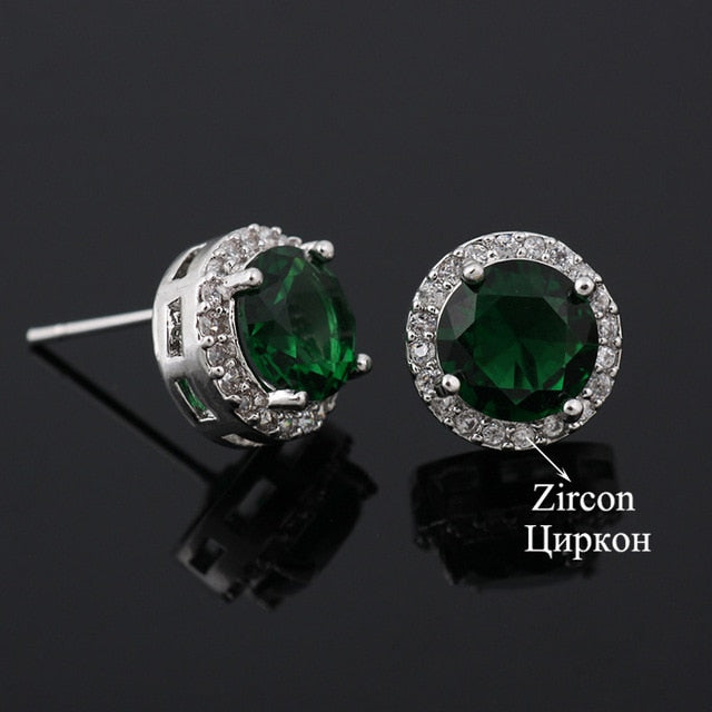 Classic Green AAA Cubic Zirconia Stud Earrings Round Crystal Girl Ear Studs For Women Multicolor Fashion Jewelry