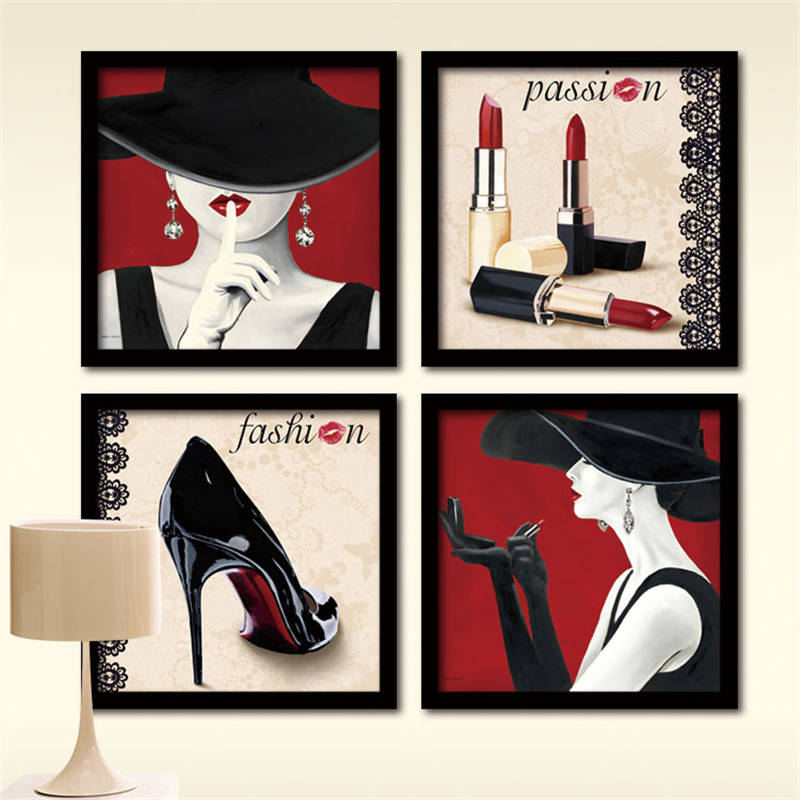 Glamour fashion women red lipstick high heel canvas painting wall art pictures bedroom decoracion canvas home decor