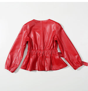 Sheepskin Leather Jacket Women Coat Vintage  Women Plus Size Black Red Female Jacket Genuine Leather