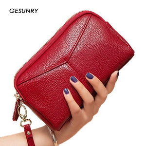 Genuine Leather Wallet Clutches Bag Female Bag Cowhide Large Capacity Wallet Fashion Female purse Phone Bag