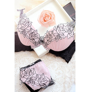 Women Sexy Embroidery deep V-neck adjustable push up lace bra underwear set