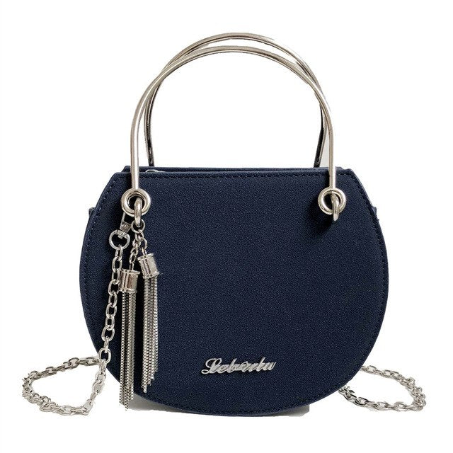 Tassel Bag Original Design for Women Metal Handle Semi-Circular shoulder bag