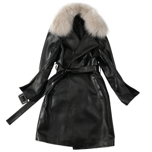 Trench Coat Women Plus Size Long Coats Ladies Genuine Leather Jacket Detachable Fox Collar Winter 2020 Black Trench Coats