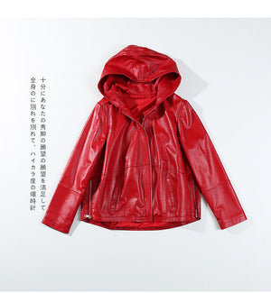 2018 Genuine Leather Jackets Sheepskin Hood Women Black Red Plus Size Casual Zipper Autumn Loose Leather Jackets for Juniors