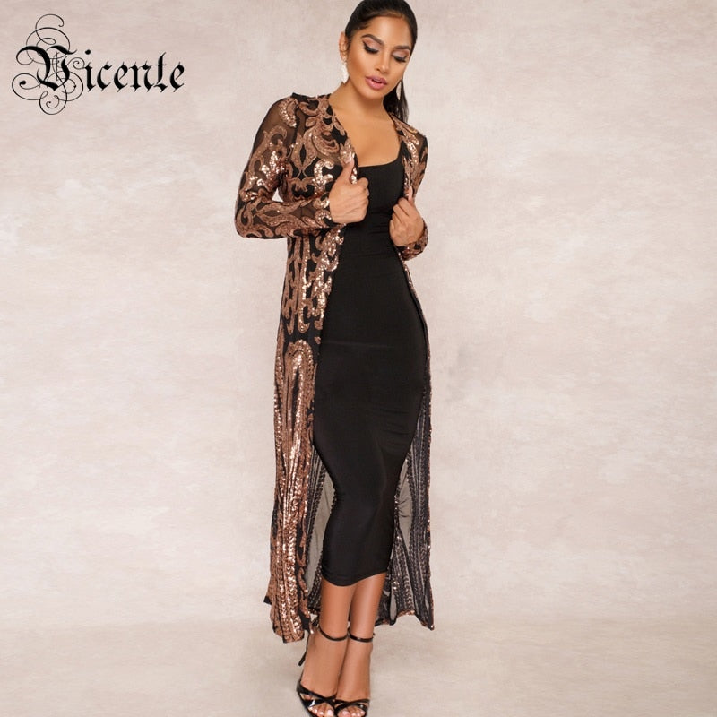 Vicente HOT Fashion Sequins Embellished Long Coat Long Sleeves 2018 New Wholesale Celebrity Party Casual Wear Coat