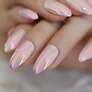 Transparent Acrylic Artificial Nails Silver Glitter Pre-designed Finger Fake Nails with Adhesive Tapes 24
