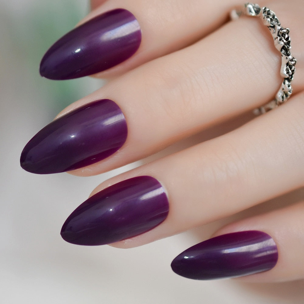 24 Purple Fake Nails Candy Grape Color Decorative Fingernails Cheap Sharp Nail Tips Many Colors for Choose