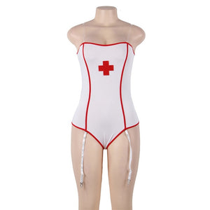 Women Teddy Plus Size Sexy Nurse Costumes Uniform Hot Erotic Lingerie Bodysuit