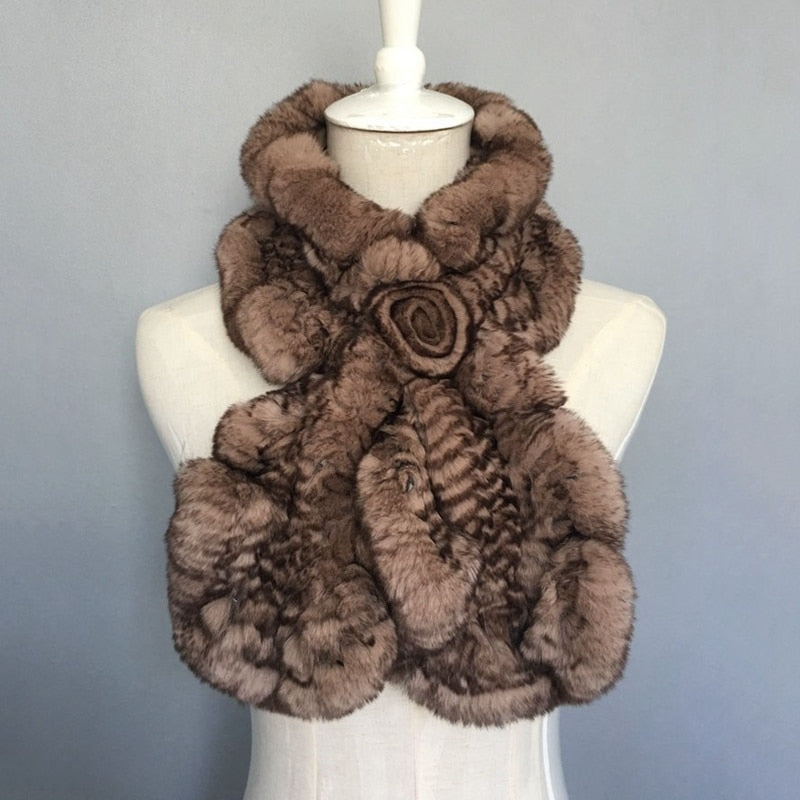 2018 new arrival knitted real rex rabbit fur scarf with flower for women elegant warm winter neck warmer femme fashion collars