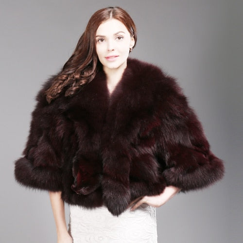 Women Genuine Real Fox Fur Coat 100% Natural Fox Fur Short Winter Jacket Warm Soft Fashion Real Fox Fur Pashmina Overcoat