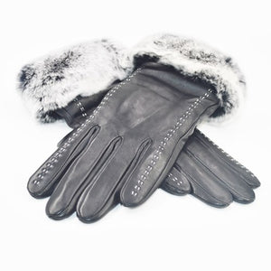 2020 Real Rex Rabbit fur Leather Gloves Women Black Sheepskin Genuine Leather Gloves Winter Warm Soft Sheepskin Leather Gloves
