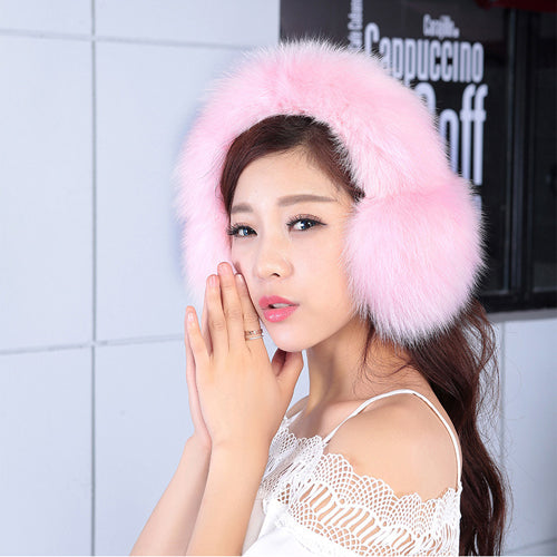 2020 Women Fashion Real Fox Fur Earmuffs Full Leather Natural Fox Fur Ear Muffs