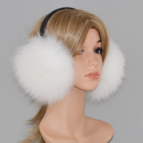 Winter Women 100% Real Fox Fur Earmuffs Lady Warm Soft Plush Fox Fur Ear Muffs Russia Thermal Girl Genuine Real Fox Fur Earmuff