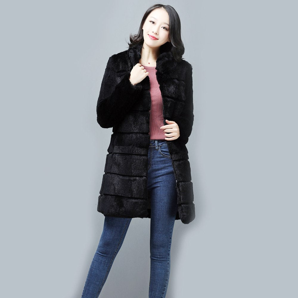 Women Real Rex Rabbit Fur Jacket Long Style Mandarin Collar WinterOvercoat