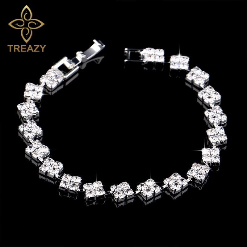 Women Sparkling Silver Plated Crystal Bracelets Ladies  Shiny Squares Bracelets & Bangles Bridal Wedding Accessories Jewelry