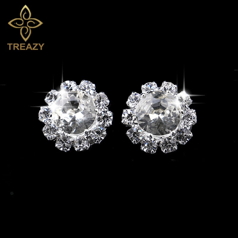 Women Luxury Bridal Silver Plating Crystal Rhinestone Flower Stud Earrings for Wedding Prom Gifts Accessories