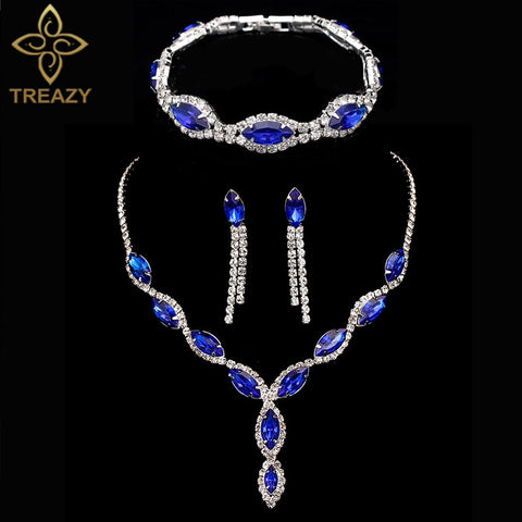 Women Charming 3 pcs Jewelry Sets Royal Blue Crystal Rhinestone Long Tassel Necklace Earrings and Bracelet Bridal Jewelry Sets