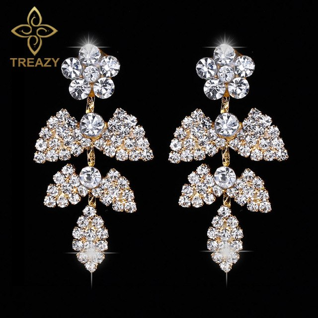 Crystal Bridal Silver/Gold Color Wedding Long Floral Shape Earrings Dangle Earrings for  Bridesmaid, Brides Ladies Jewelry