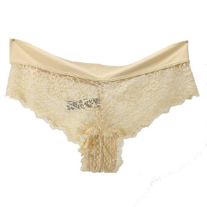 Women Sexy Thong Lace Embroidery Transparent Panty Mesh Hollow G-string Ladies Summer Low rise Breathable Seamless Underwear Hot
