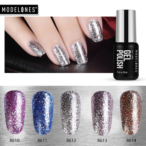 Newest Platinum Gel Nail Polish Super Shining Glitter UV Nail Gel Lacquer 7ML Diamond Starry Sequins Led Nail Varnish