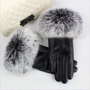Fashion High-grade Genuine Leather Gloves Women Warm Thick Rex Rabbit Fur Sheepskin Gloves Mittens