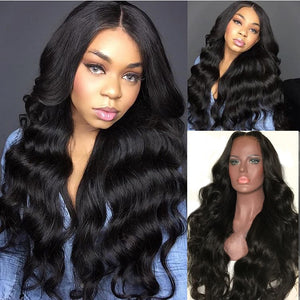 T-BOO Full Lace Human Hair Wigs Long Body Wave 26 Inches Brazilian Virgin Hair Wig with Baby Hair for Women Bleached Knots
