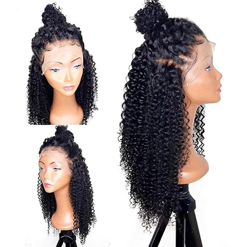 "T-BOO 360 Lace Frontal Wig Brazilian Remy Kinky Curly Human Hair Wigs for Black Women 10""-26""Pre Plucked Natural Hairline"