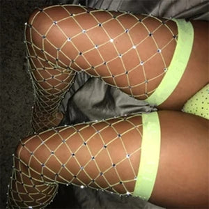 Sexy Rhinestone Crystal Fishnet Stockings Stay Up Women Thigh High Sparkle Mesh Stocking