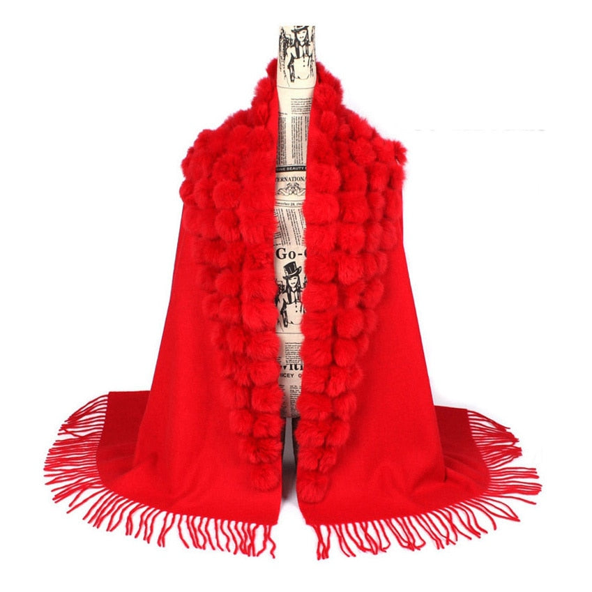 Genuine sheep fur shawl winter scarf  genuine rabbit fur with pompom thick long luxury wrap cape