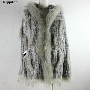 2020 Ladies knitted Real genuine rabbit fur coat/ jacket/ outwear/Garment with raccoon collar hood