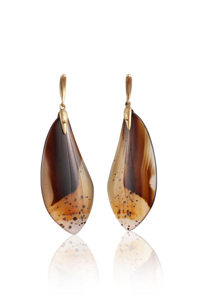 Montana Agate Moth Wing Earrings in 18k Gold