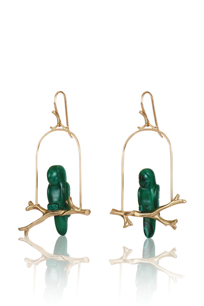 14k Gold & Malachite Amazon Parrot Earrings
