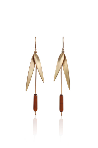 Large Cattail Earrings in 14k Gold
