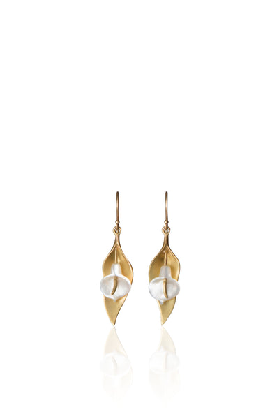 Small Cala Lily Earring in 14k Gold and Mother of Pearl