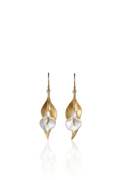 Large Cala Lily Earrings in 14k Gold and Mother of Pearl
