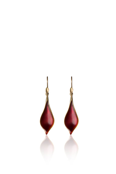 Small Crocus Petal Earrings with Enamel in 18k Gold