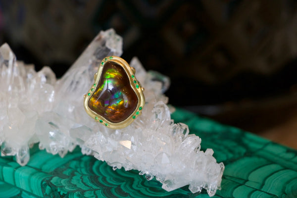 Fire Agate Coral Branch Ring with Tsavorite in 18K Gold