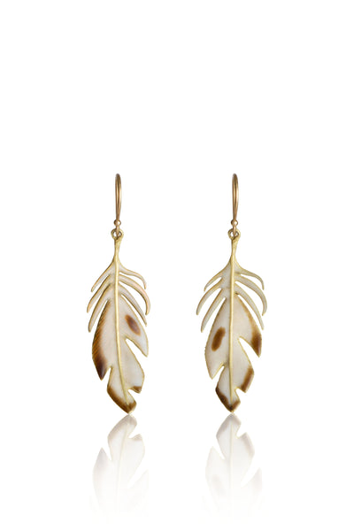 Large Feather Earrings with Enamel in 18k Gold