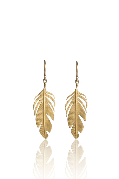 Large Feather Earrings in 14k Gold